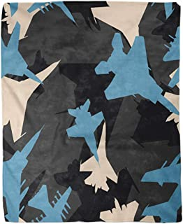 rouihot 50x60 Inches Flannel Throw Blanket Black Blue and White Military Jet Fighters Aircraft Silhouettes Home Decorative Warm Cozy Soft Blanket for Couch Sofa Bed
