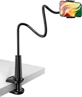 Tryone Gooseneck Phone Holder, Flexible Long Arm Mount Compatible with Smartphones, Max Width 3in, Overall Length 27.5in(B...