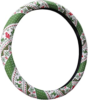 MeiBoAll Christmas Steering Wheel Cover, Flax Anti Slip Steering Wheel Cover Protector Reindeer Pattern Decorative Steering Wheel Cover Trim for Car Vehicle SUV with Wheel 37cm 38cm, Green