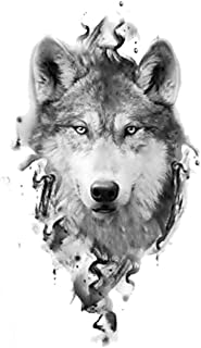 Black Wolf Forest Tribal Feather Tattoos Temporary Sticker Tree Fierce Animal Fake Tattoo for Men Body Art Custom Tattoos,A17
