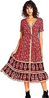 Kuty Lady Costume, Dress,Women's Bohemian Embroidery Floral Dress, Womens Floral Print Faux Wrap Dresses, Short Sleeves Maxi Dress, Boho Floral Beach Dress