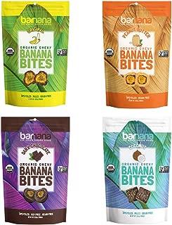 Barnana Organic Chewy Banana Bites - Variety Pack - 3.5 Ounce, 4 Pack Bites - Healthy Vegetarian Banana Fruit Snacks - Made with Sustainable, Eco Friendly Upcycled Bananas