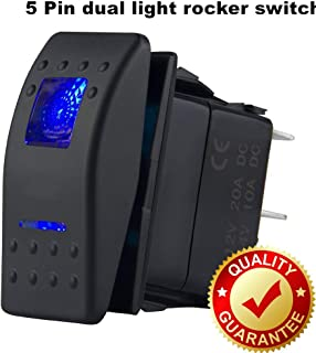 Switchtec 1 Pc 12V Rocker Switch Blue Led Light On Off Switch for Boat Trucks Jeep