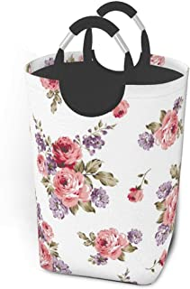 ZCHW Panier à Linge Roses Bouquet de Fleurs répétant Impression Nature Panier de Rangement de Fleurs, Toile Tissu bac de R...
