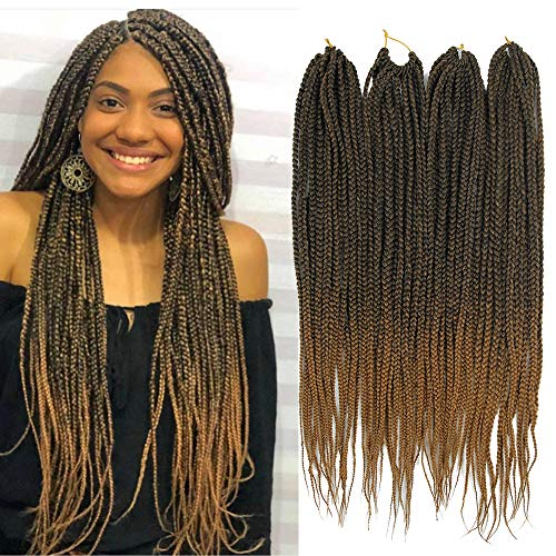 6 Packs Box Braids Crochet Hair Crochet Box Braids Kanekalon Synthetic...
