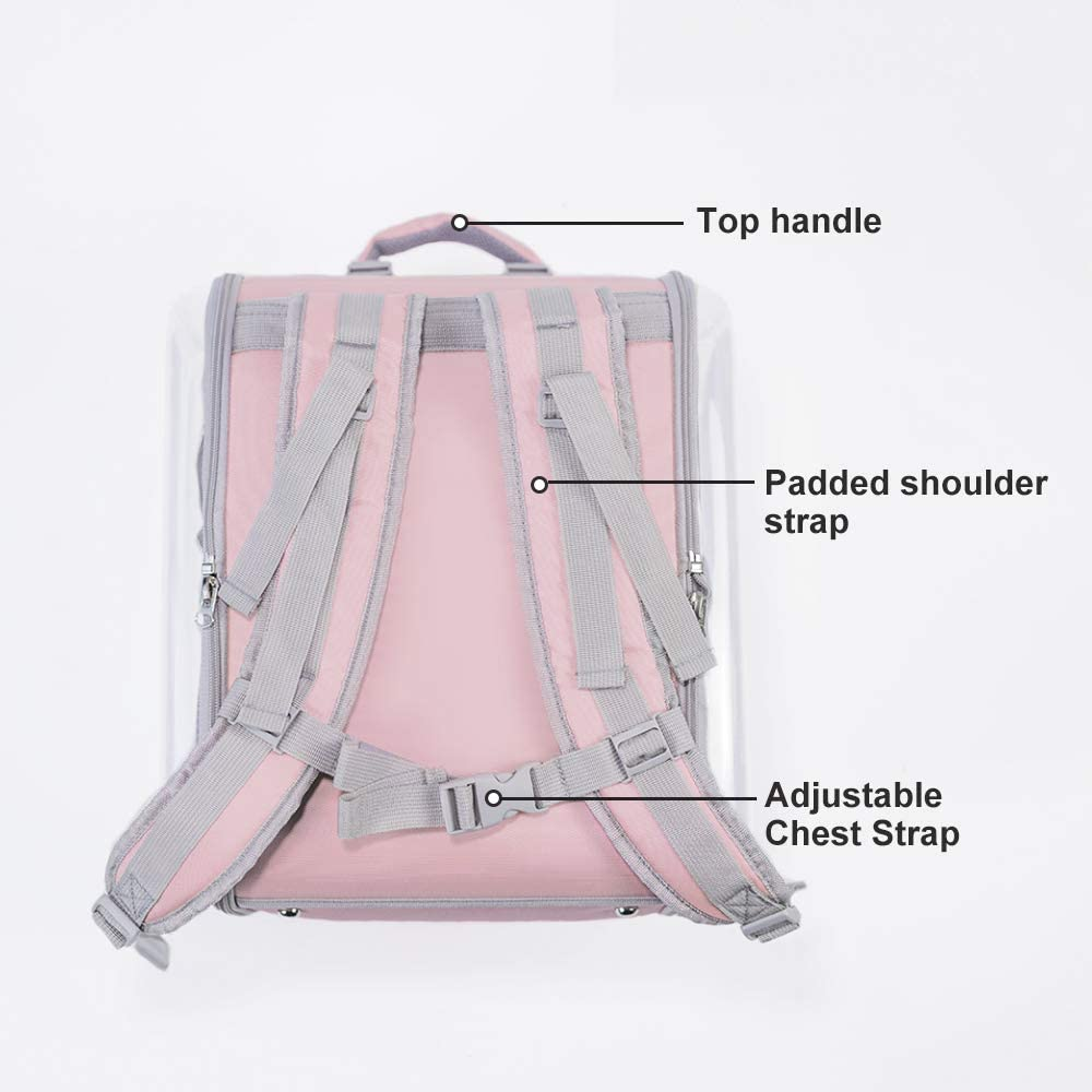 Petseek Cat Backpack Carrier Small Dog Pet Carriers Bag Space Capsule Suitable for Travel Hiking Outdoor Use Pink