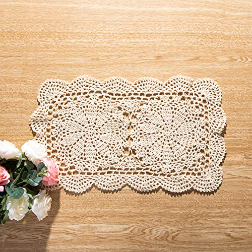 Eiyye Rectangle Doilies 2-Piece 105x17inch Handmade Crochet Cotton Lace Table Placemats Coaster Beige