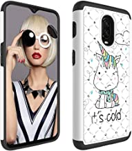 Wiitop Compatible OnePlus 6T Case Cover [Heavy Duty] Tough Dual Layer 2 in 1 Rugged Rubber Hybrid Hard Plastic Soft TPU Back Protective Coloured Drawing Glitter Diamond - Little Monster
