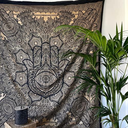 MOMOMUS Tapiz Mandala Oro - 100% Algodón, Grande, Multiuso - Plaid/Foulard/Tela/Colcha Ideal como Cubre Sofá/Cama - Negro, 210x230 cm