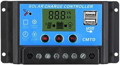 Anself - Controlador de carga solar con pantalla LCD Regulador automático del temporizador del panel solar para lámpara LED especial de la batería Iluminación Protección contra sobrecarga 12/24V