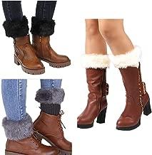 Women Winter Faux Fur Boot Cuffs Cover Crochet Knitting Short Leg Warmers 3 Pack