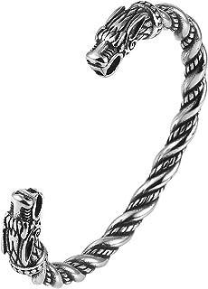 HZMAN Silver Stainless Steel Viking Twisted Cuff Bracelet Viking Jewelry for Men women