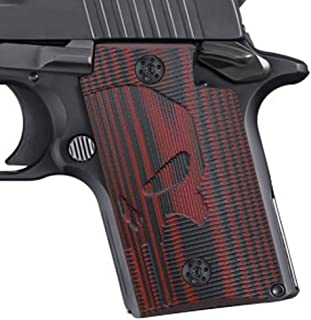 Cool Hand Grips for Sig Sauer P938, Screws Included, Skull Texture, Cherry Color G10, H4-SK-6