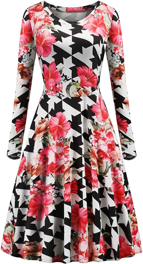 YANG-YI Women Fashion Dress Floral Print Round Neck Zipper Long Sleeve Party Dress
