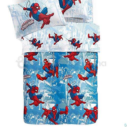 Caleffi Trapunta da Una Piazza e Mezza Peso Invernale Originale Disney Art. Spider-Man Sky in Puro Cotone cm. 215x260