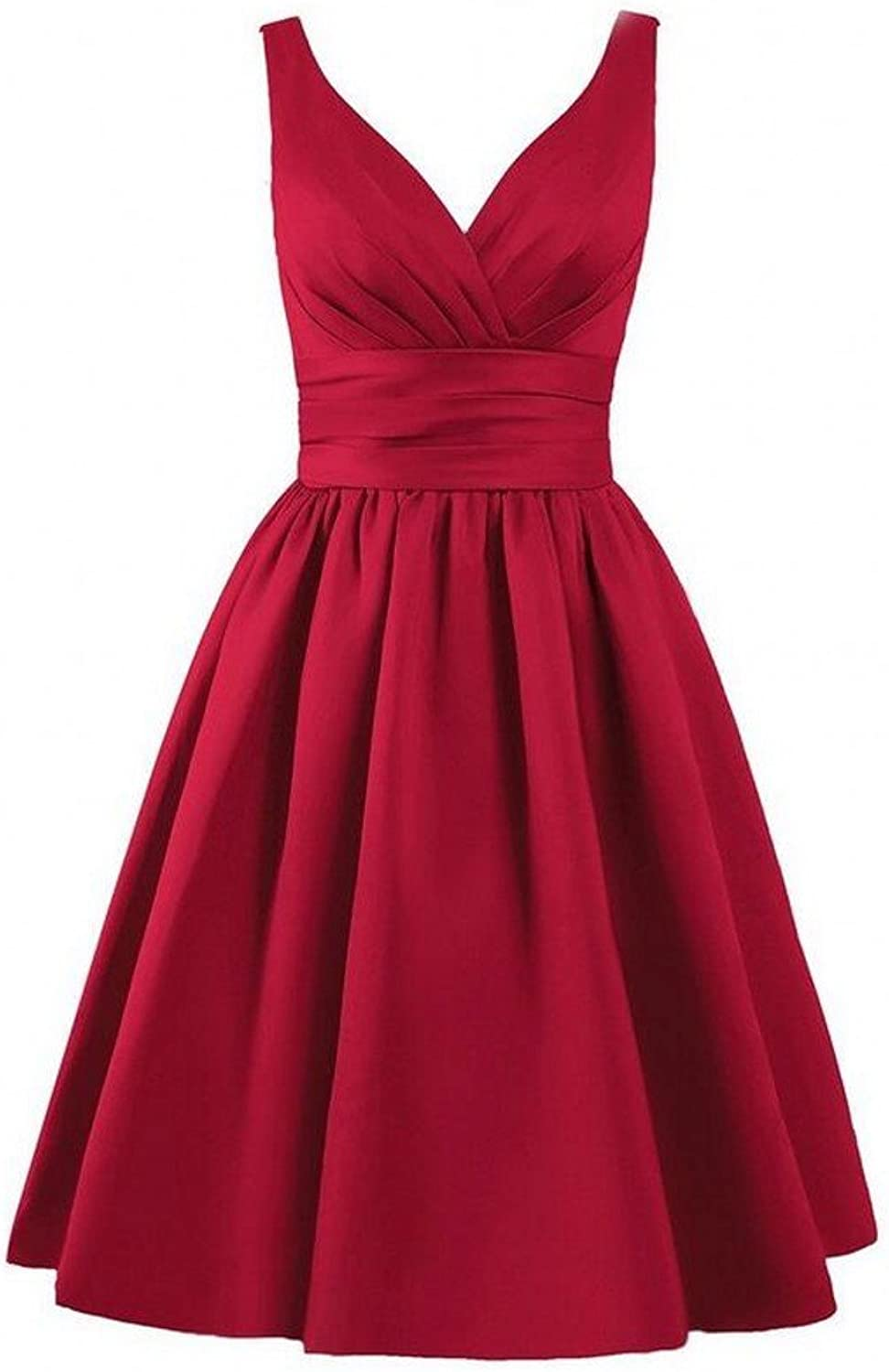 AK Beauty Women's VNeck Sleeveless Prom Gown Short Lace Up Bridesmaid Dresses