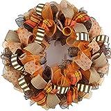 Fall Wreaths for Front Door | Burlap Thanksgiving Deco Mesh Door Wreath; Brown Orange : F3