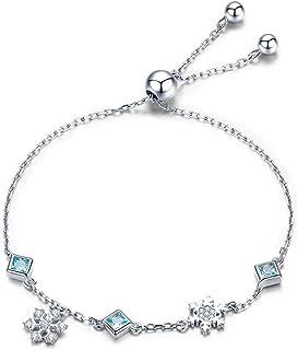 925 الفضة الاسترليني الشتاء ندفة الثلج للنساء مفرغة من سلسلة واحدة مزودة بفص صينية الفضة