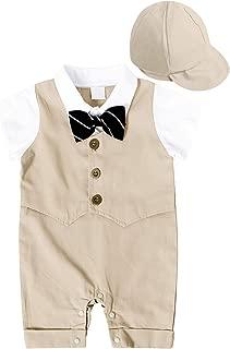 MetCuento Baby Boys' One-Piece Rompers Short Sleeve Bow Tie Onesie Formal Suit Gentleman Wedding Outfit