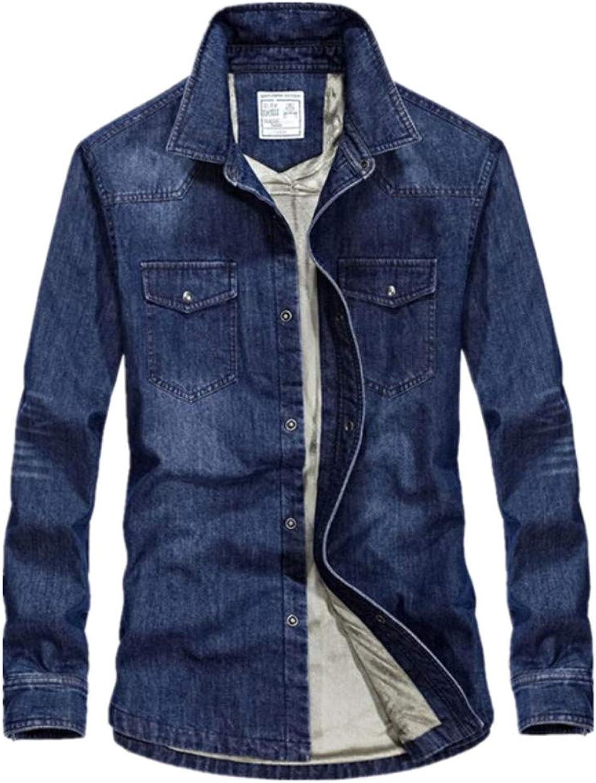 8d8e1a3e661b SHUQI Men's Casual Plus Plus Plus Velvet Thick Denim Shirt Jacket 6b8faf