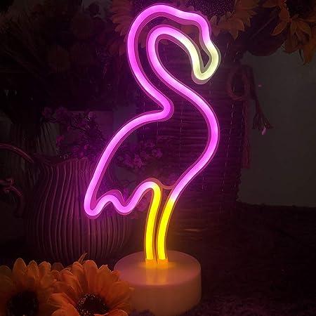 Enuoli Neon Flamingo lights lumière néon Signes USB//Batterie rose fluo rose