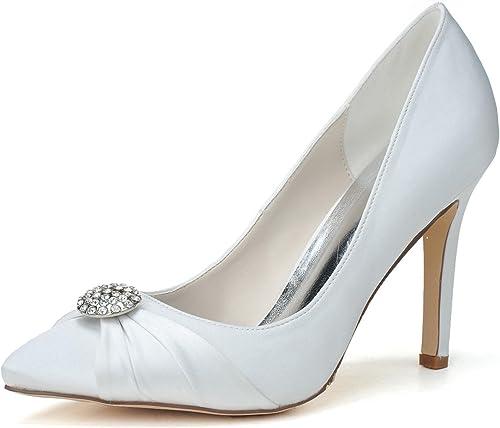 Elobaby Chaussures De Mariage des Femmes Bout Pointu MariéE Plate-Forme Ivoire Boucle   0608-08
