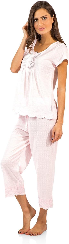 Casual Nights Women's Short Sleeve Floral Capri Pajama Set