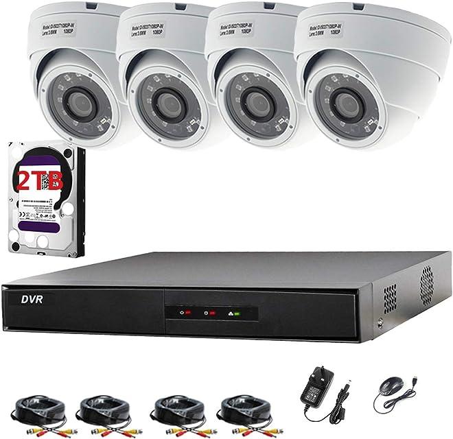 Hikvision DVR de 8canales CCTV Kit Sistema de seguridad y 4x Sony 24MP CMOS TVI 1080P Full HD cámaras domo 20m visión nocturna por infrarrojos P2P fácil visión remota
