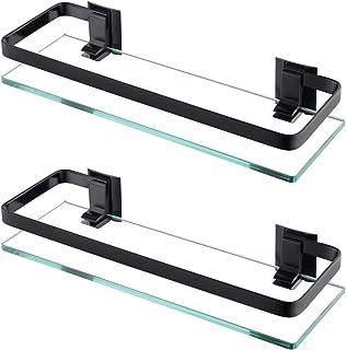 KES A4126-P - Estante de cristal para baño con riel de aluminio y cristal templado extra grueso, estante de ducha rectangular de estilo contemporáneo montado en la pared