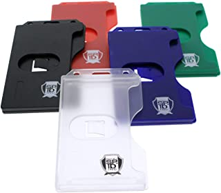 5 Pack - Hard Plastic Badge Holder Vertical - Side Load 2 Card Protector - Multiple Card ID Badge Holders - Heavy Duty Rigid/Hard Plastic by Specialist ID (Assorted Colors)