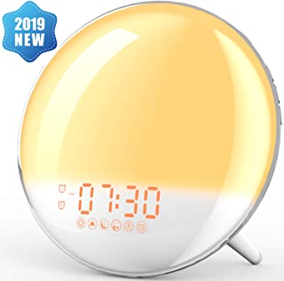 Alarm Clock Wake Up Light,XIRON Light Alarm Clock with Sunrise/Sunset Simulation,Dual Alarms and Snooze Function, 7 Colour Atmosphere Lamp, 7 Natural Sounds and FM Radio for Kids Adults Bedroom