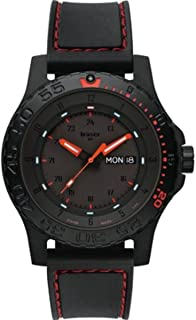 Traser 105503 Men's Professional Red Combat Black Rubber Strap Black Dial Dive Watch