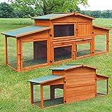 zooprinz riesiger Hasenstall- aus edlem massiven Vollholz ideal für draußen - Einfach zu reinigen Dank der Kotschublade - Kleintierstall mit ungiftiger Farbe gestrichen - Kaninchenstall