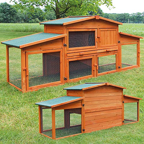 zooprinz riesiger Kaninchenstall - aus massiven Vollholz Einfach zu reinigen Dank der extra hohen Kotschublade - Idealer Kleintierstall, Kaninchenstall, Hasenstall