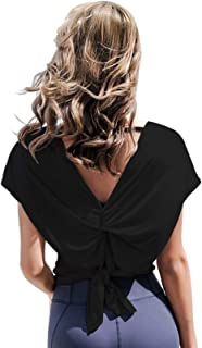 Ersuely Women Drape Deep V Back Yoga Top Open Split Casual Shirt with Tie Back