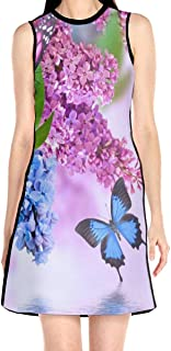 Women's Sleeveless Dress Butterfly Lilac Flowers Fashion Casual Party Slim A-Line Dress Midi Tank Dresses