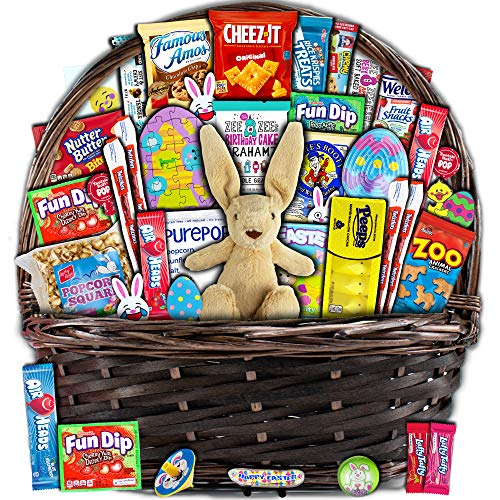 Brown Easter Basket for Kids and Adults (40ct) - Already Filled Easter Gift Basket with Plush Easter Bunny, Candy, Snacks, and Toys - Boys, Girls, Grandchildren, Young Children, Toddlers, Men, Women from Accardi Products LLC