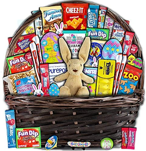 Brown Easter Basket for Kids and Adults 40ct Already Filled Easter Gift Basket with Plush Easter product image