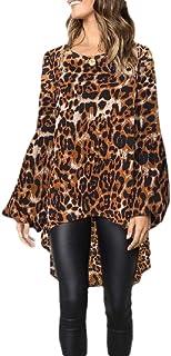 HEFASDM Women's Crewneck Irregular Baggy Blouse Classic Henley Shirt