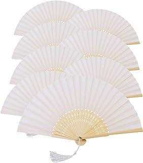 KAKOO Blanco de Seda Plegable Ventilador Con Marco de Bambú Ventiladores de Mano Para el Baile Cosplay Iglesia Decoración de La Boda Conjunto de 8