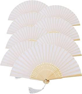 Metable 8pcs Folding Fan White Silk Bamboo Handheld Folded Fan Bridal Dancing Props Church Wedding Gift Party Favors Home Office DIY Decor