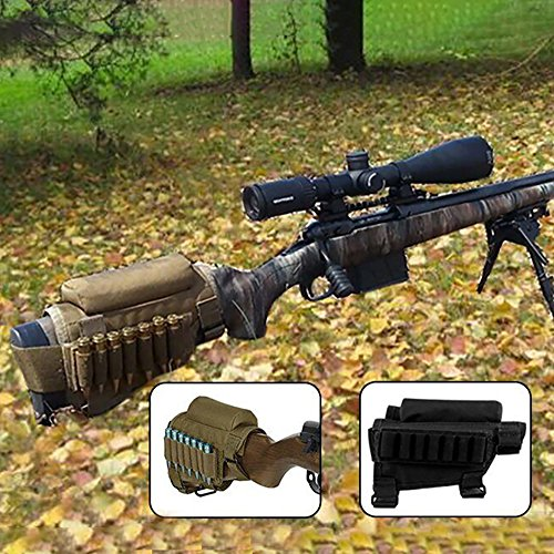 GVN Portable Adjustable Tactical Buttstock Shell Holder Cheek Rest Pouch Holder Pack with Ammo Carrier Case FDE