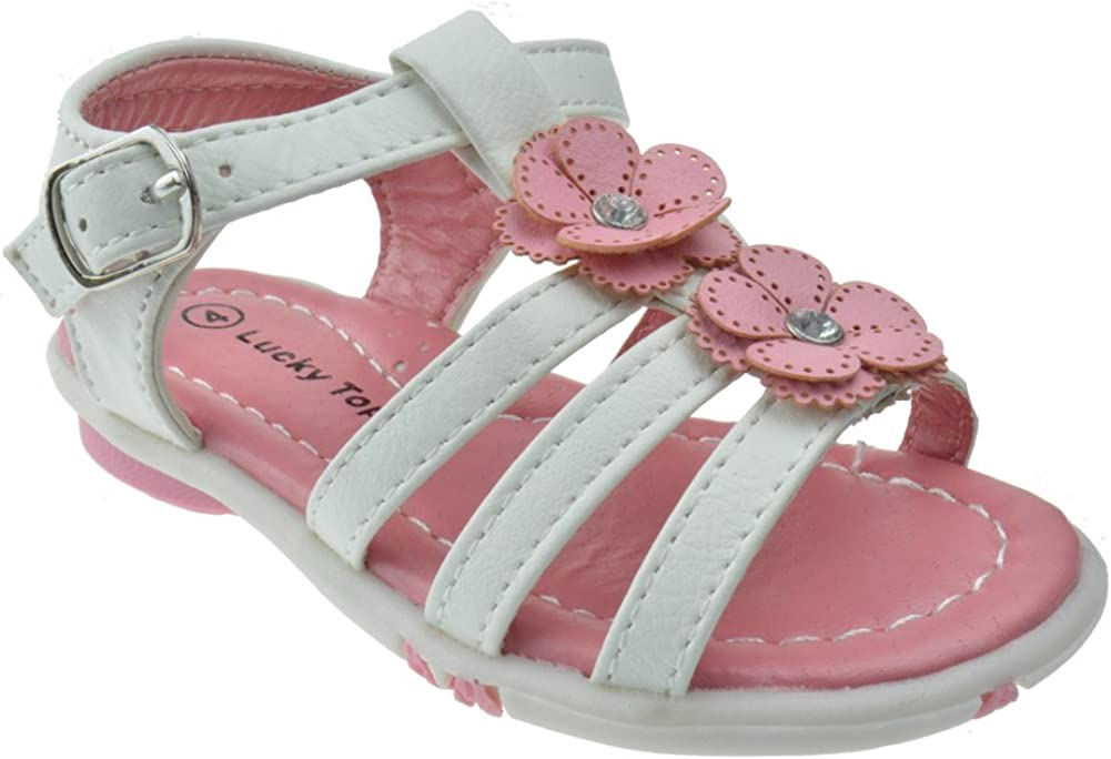 LULU 7 Little Girls Multi Colored Braided Rhinestone Flower Sandals White