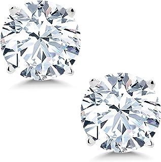 Gem Stone King 14K White Gold White Created Sapphire Women`s Stud Earrings 2.00 Cttw 6MM