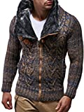 Leif Nelson Men's Knitted Cardigan | Long-sleeved slim fit hoodie | Stylish full zip winter cardigan with shawl collar f