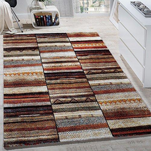 Paco Home Designer Teppiche Modern Loribaft Design Gemustert Teppich Bunt Beige Meliert, Grösse:80x150 cm