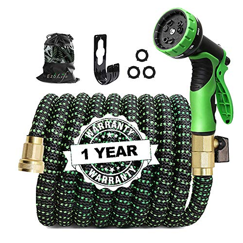 EzoLife 50FT Expandable Garden Hose with 9 Function Spray Nozzle, Extra Strength 3750D Durable Fabric and Double Latex Core Fittings,Lightweight Water Hose with 3/4' Solid Brass