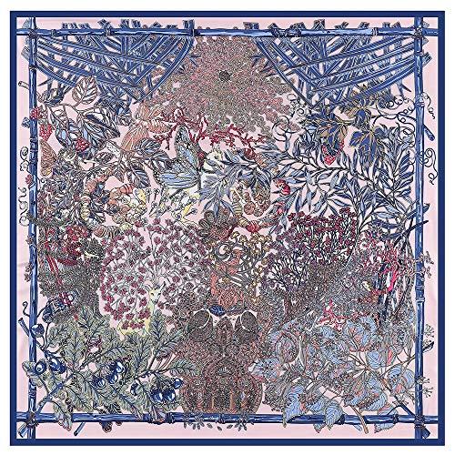 HAIHF sjaal voor dames, basis-bosdier, tuinpatroon, grote vierkante satijnen hoofddoek, hoofdtooi 130 x 130 cm