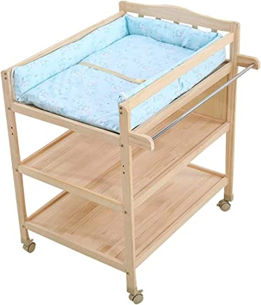 JINYANG Baby Diaper Table Multifunctional Solid Wood Paint-free Baby Touch Massage Bathing Clothes Storage Care Table Wheeled