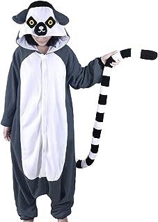 dressfan Unisex Animal Character Hooded Pajamas Adult Kids Lemur Cosplay  Costume 667806da4
